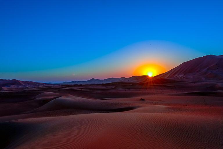 Sonnenaufgang, Sunrise in der Wüste, im Oman