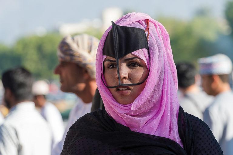 Oman Nizwa Markt, Gesichtsmaske