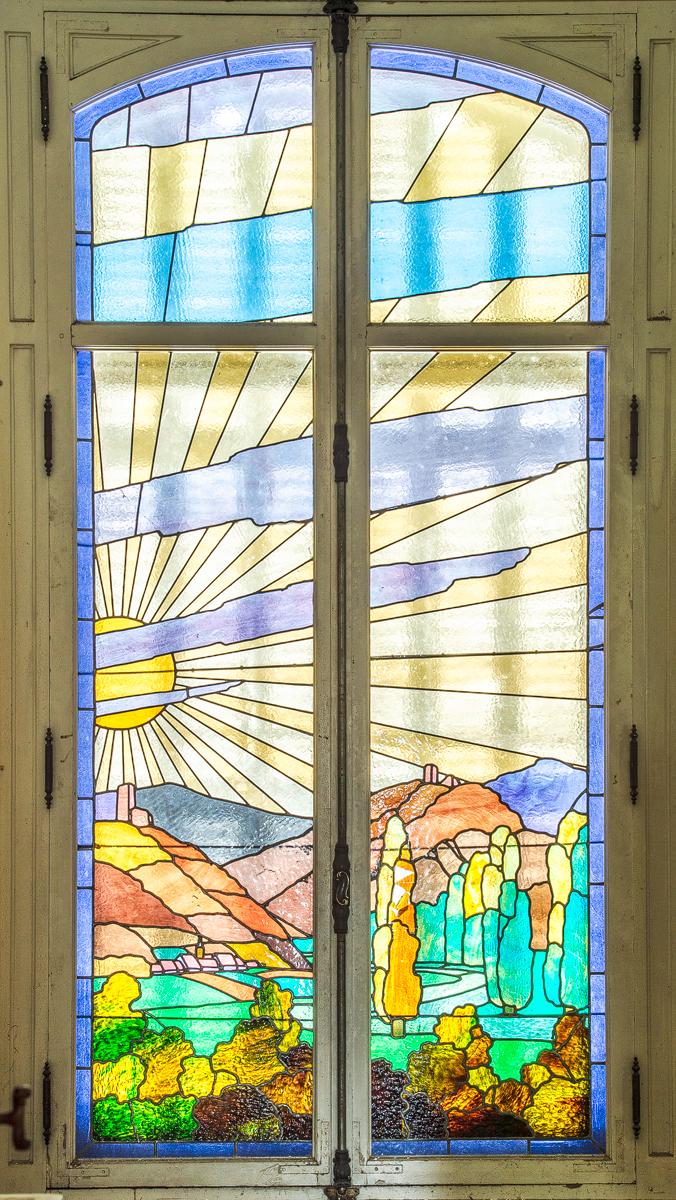 Glasmalerei im Schloss, Badezimmerfenster