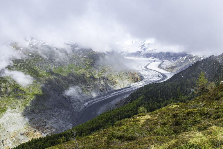 Aletschgletscher im Nebel, Wallis