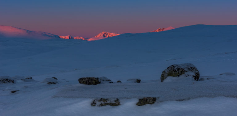 Sonnenaufgang im Dovrefjell, Norwegen