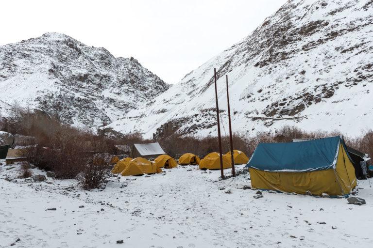 Fotoreise Schneeleoparden, Campsite im Rumbak valley