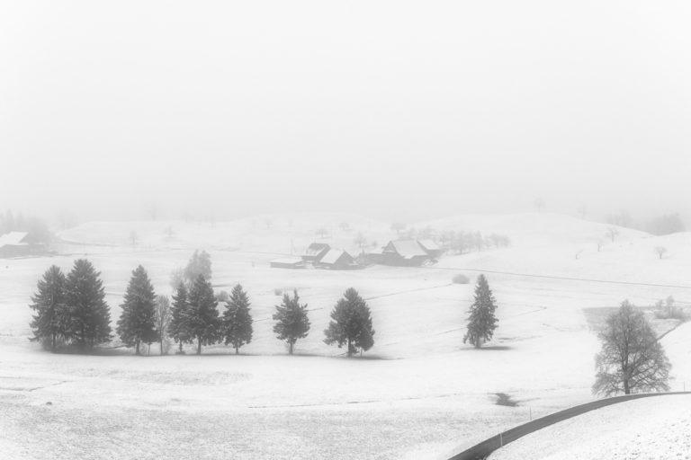 Winterlandschaft im Nebel, Hirzel