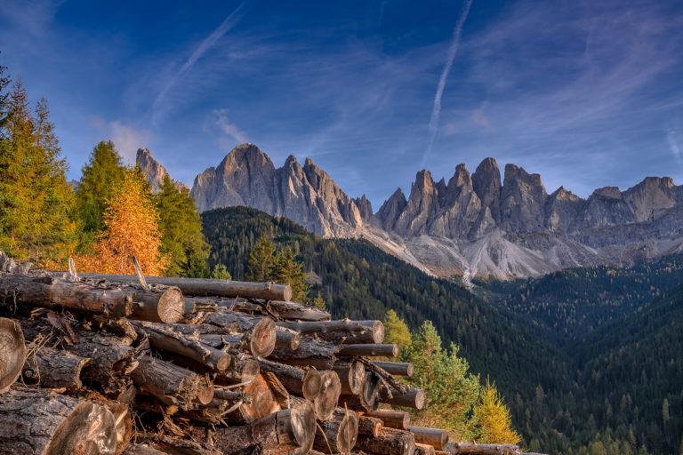Dolomiten Berge im Herbst, Geislerspitzen