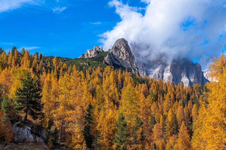 Dolomiten Passo Giau Goldene Lärchen Wolken Herbst Italien