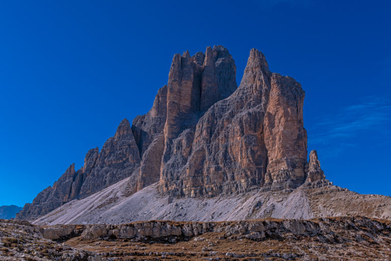 Dolomiten tre cime di Lavaredo Türme Bergsteiger Felswände