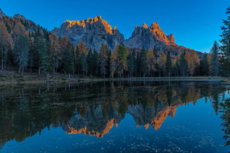 Dolomiten, Sonnenuntergang, Bergspitzen, Lago Auronzo