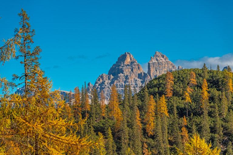 Dolomiten Tre cime di Lavaredo Herbst Lärchen Tal