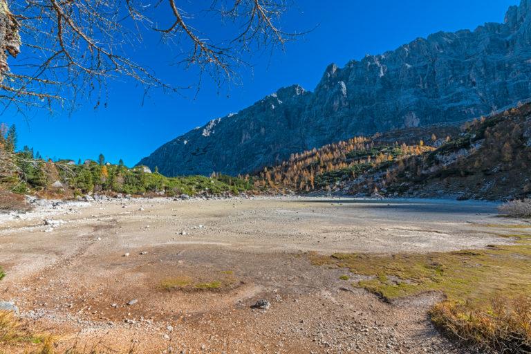 Dolomiten, Lago Sorapiss, Ausgetrocknet