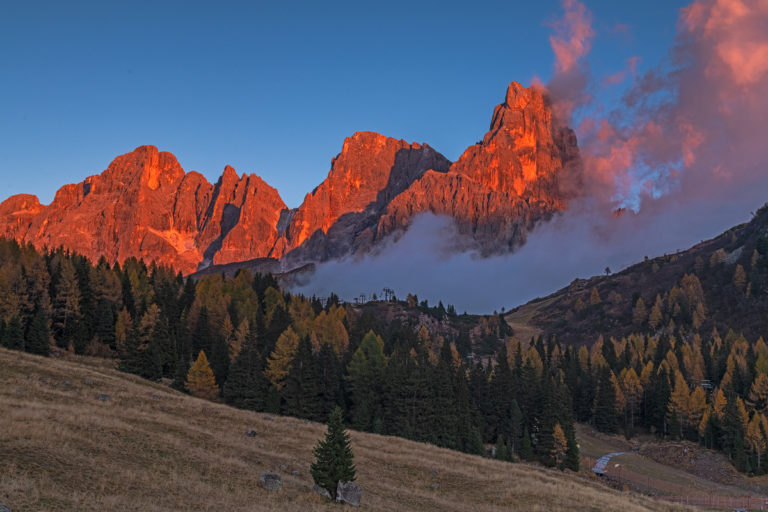 Passo Rolle, Herbst, Tirol, Dolomiten, Sonnenuntergang