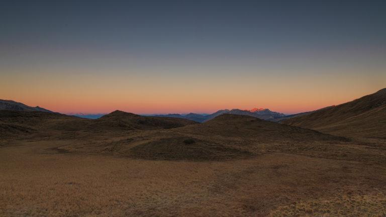 Dolomiten, Passo Rolle, Morgenglühen