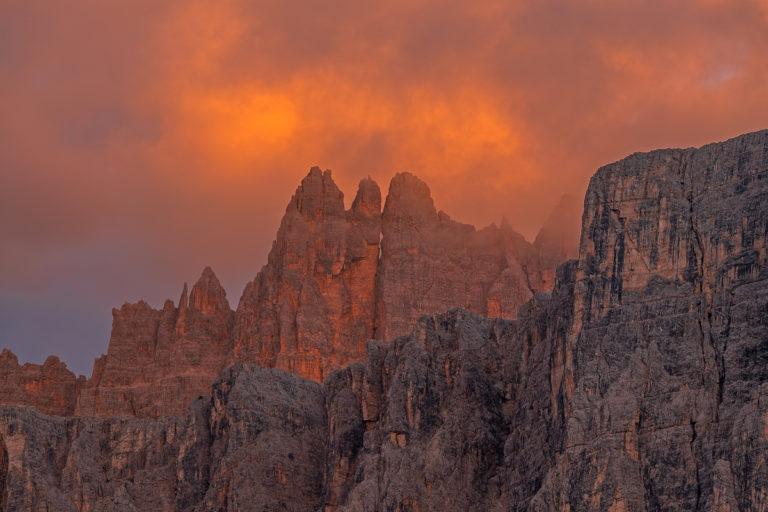Dolomiten Passo Giau Berge Leuchtender Sonnenuntergang